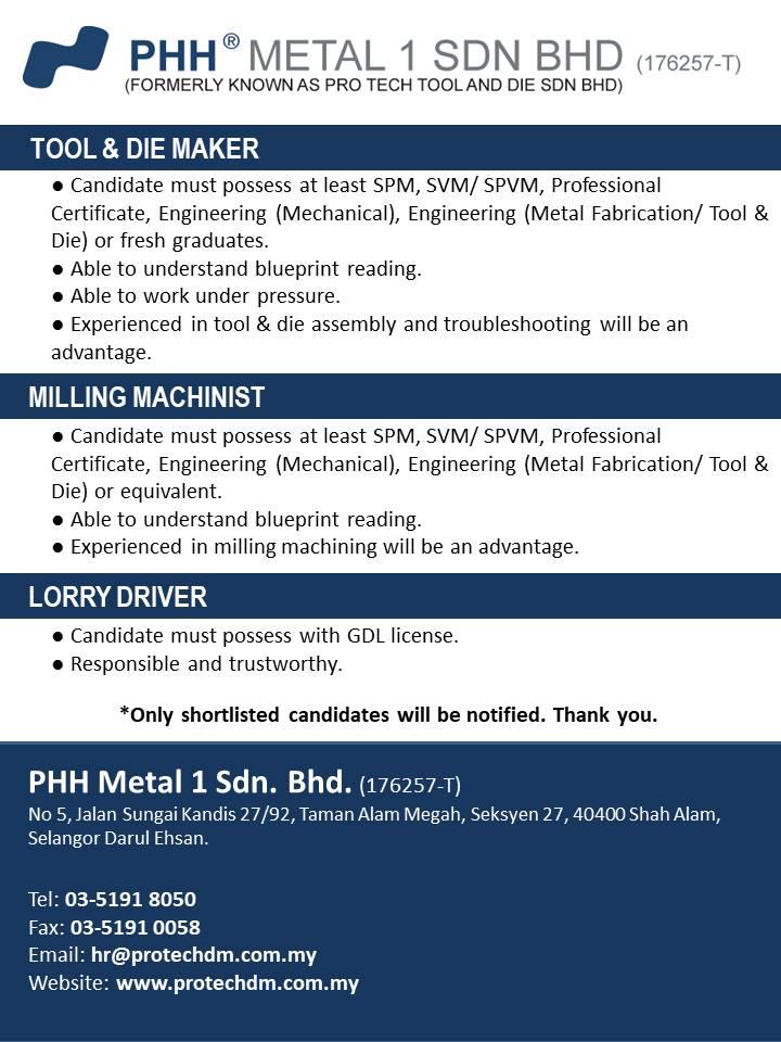 Job Vacancies Phh Metal 1